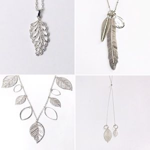 Leaf Necklaces Set of 3 Silvertone charm Pendant